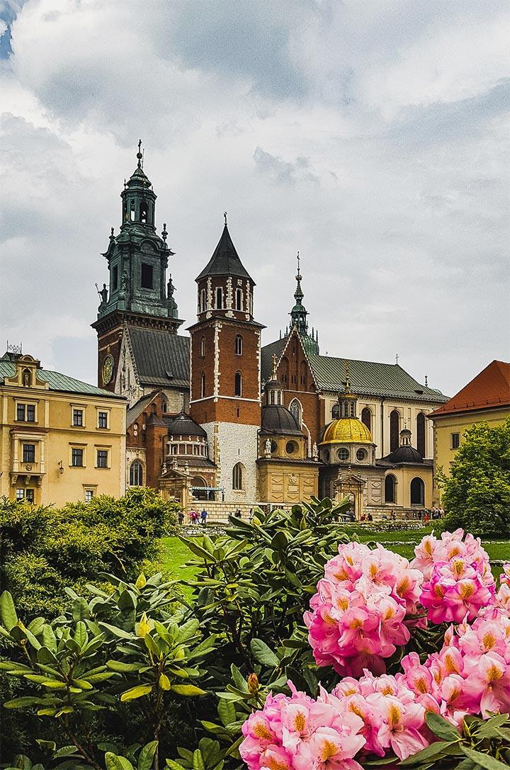 Flower garden of Wawel Castle in Krakow