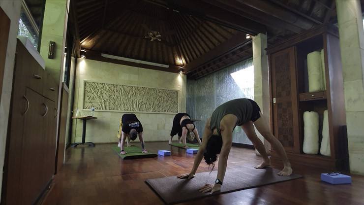 Yoga with Indra one of the instructors at Taksu Yoga in Ubud