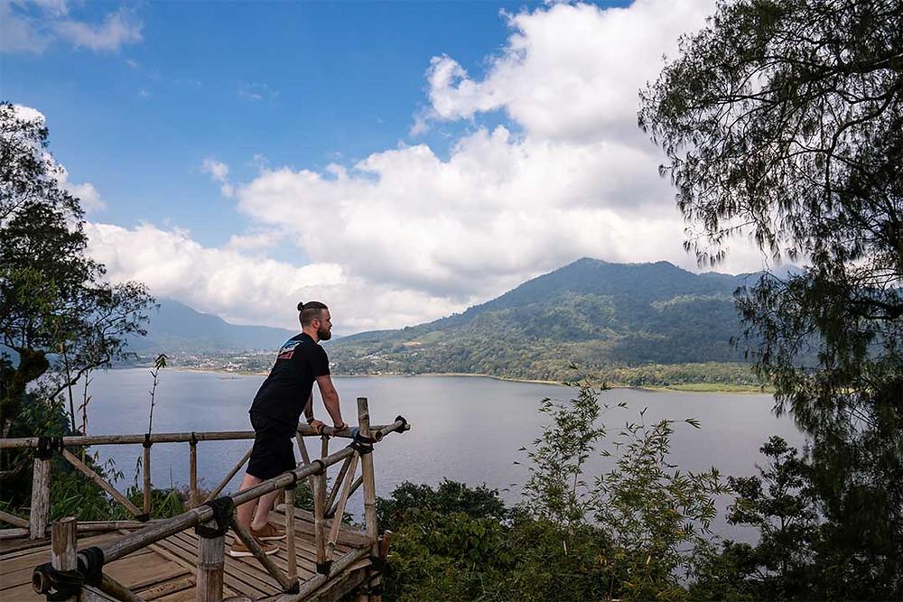 man overlooking twin lakes munduk bali