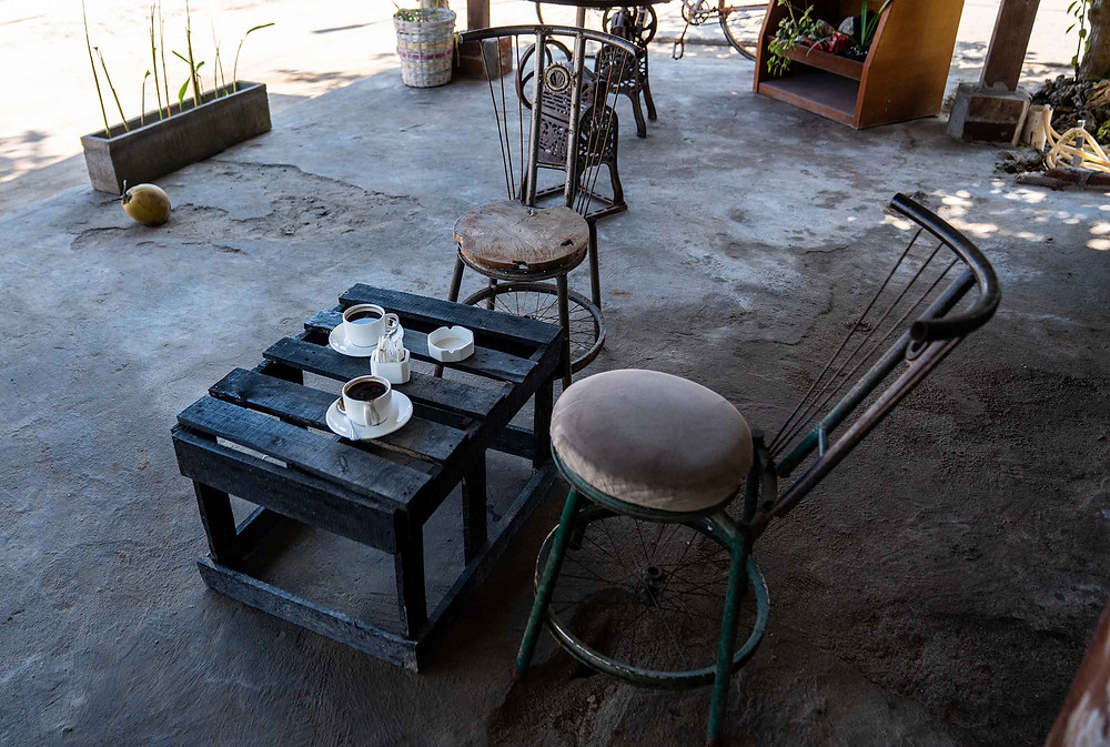 Rustic Chairs in Hipster Coffee Shop on Gilli T Island