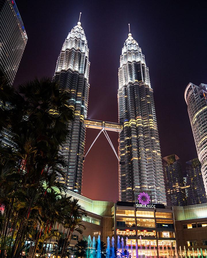 Petronas Towers at Night from Perdana Gardens