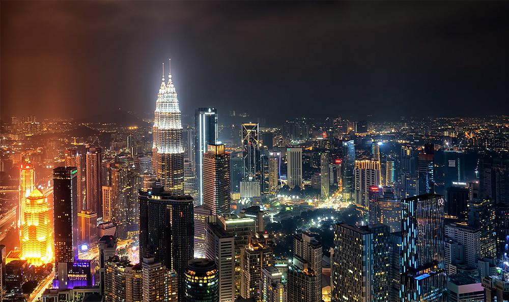 Kuala Lumpur Night Time City Lights Cityscape