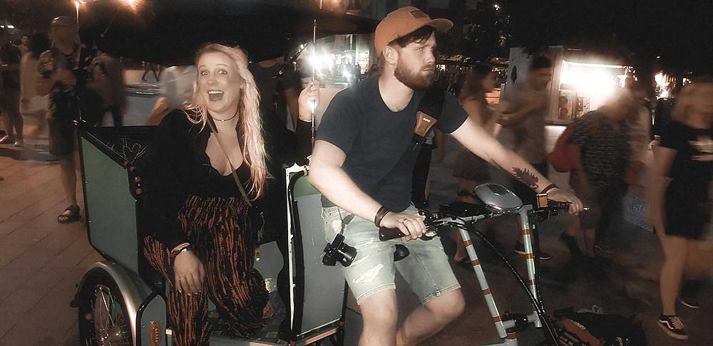 having fun with bicycle taxi