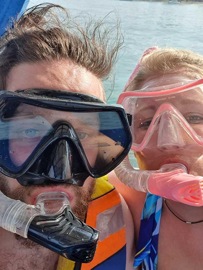 Couple Wearing Snorkel Masks