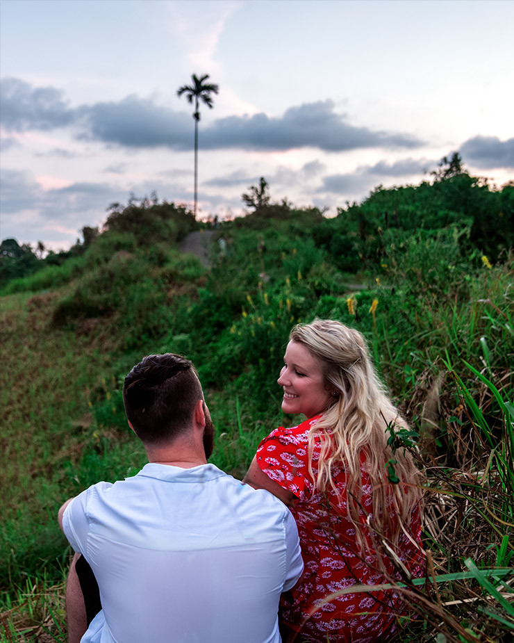 couple looking into each others eyes campuhan ridge Bali