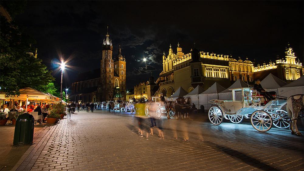 Krakow square at night long shutter speed