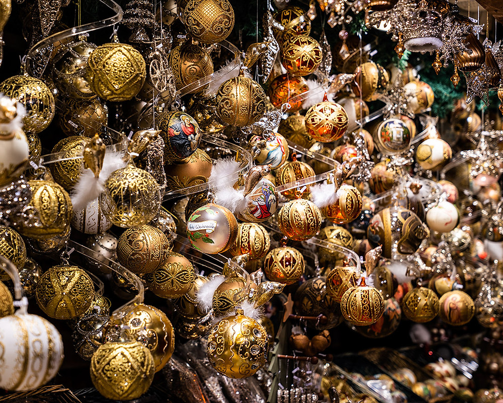 Gold Christmas Baubles in Vienna Christmas Market