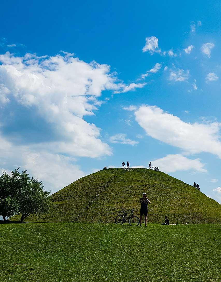 Krakus Mound in Krakow with Cyclist