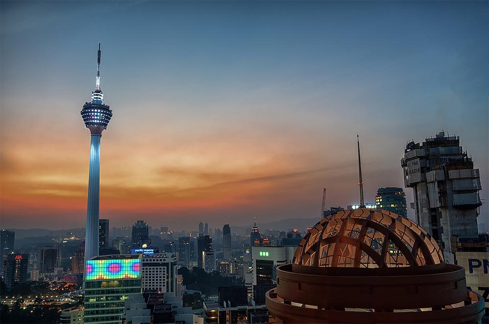 Kuala Lumpur Sunset Cityscape KL Tower from Helilounge