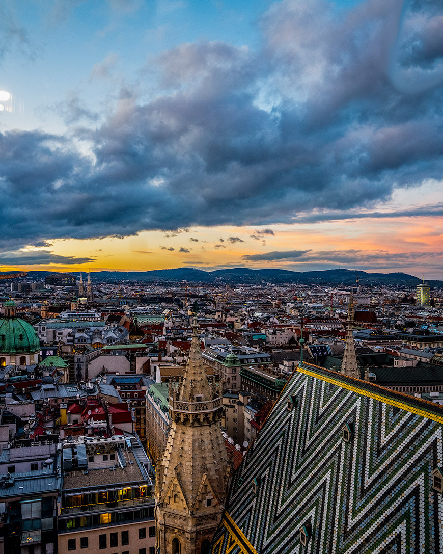 View of Vienna Sunset from Stephansdom Tower
