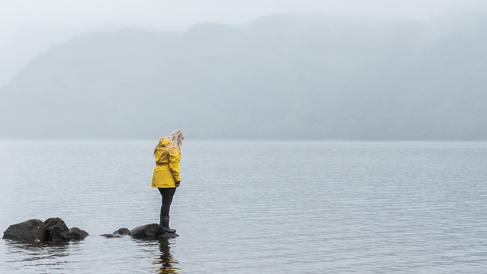 woman in yellow coat by the Loch