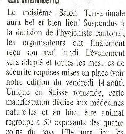 Article du Franc-Montagnard du 22.08.2020