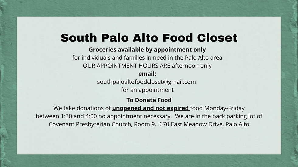 Groceries available by appointment only for individuals and families in need in Palo Alto