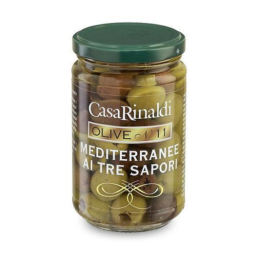 Olive mediterranee - tre sapori - 270 gr