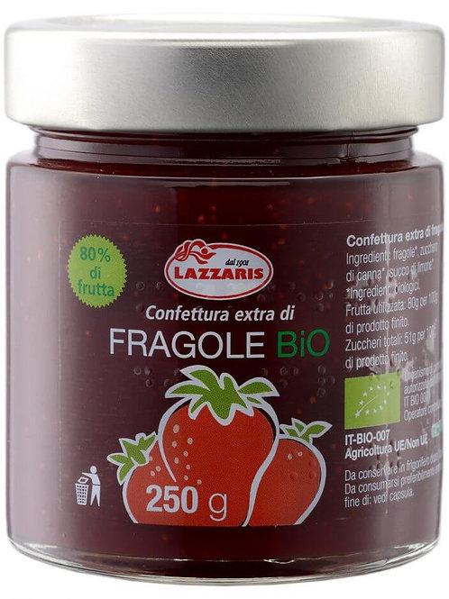 """Confettura Extra di Fragole Bio-zero pectina """"Lazzaris"""" - 640 gr."""