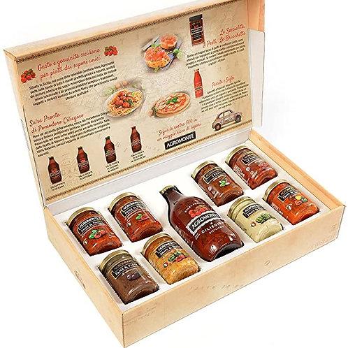 """Gift box """"Agromonte"""" - 1 bottiglia + 8 barattoli"""