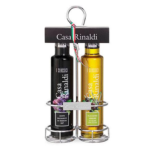"Set ""I Classici"" Huile EVO et Vinaigre balsamique IGP Casa Rinaldi - 2 x 250 ml."