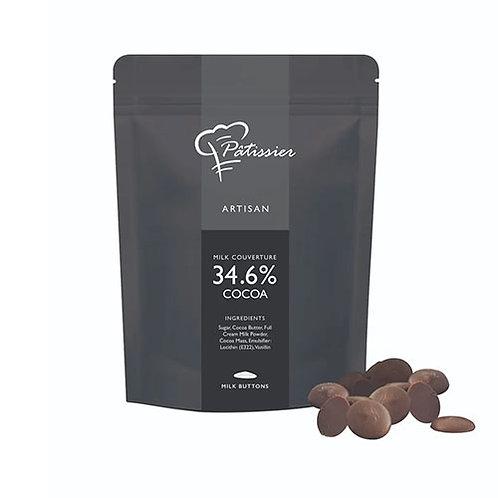 """Chocolat au lait en boutons 34,6% """"Patissier"""" - 200 gr."""