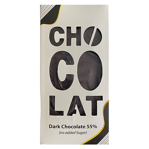 Tablette chocolate noir sans sucre 55% -100gr