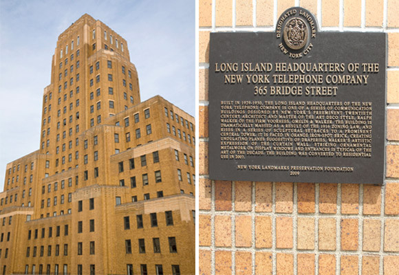 The exterior of the building (l.) and a plaque that commemorates the 2004 landmark status (r.) (Photo Credit: News/Belltel)