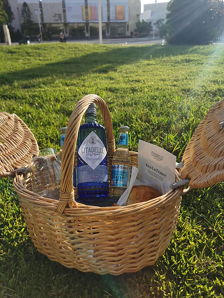 Basket with bottle and tonic