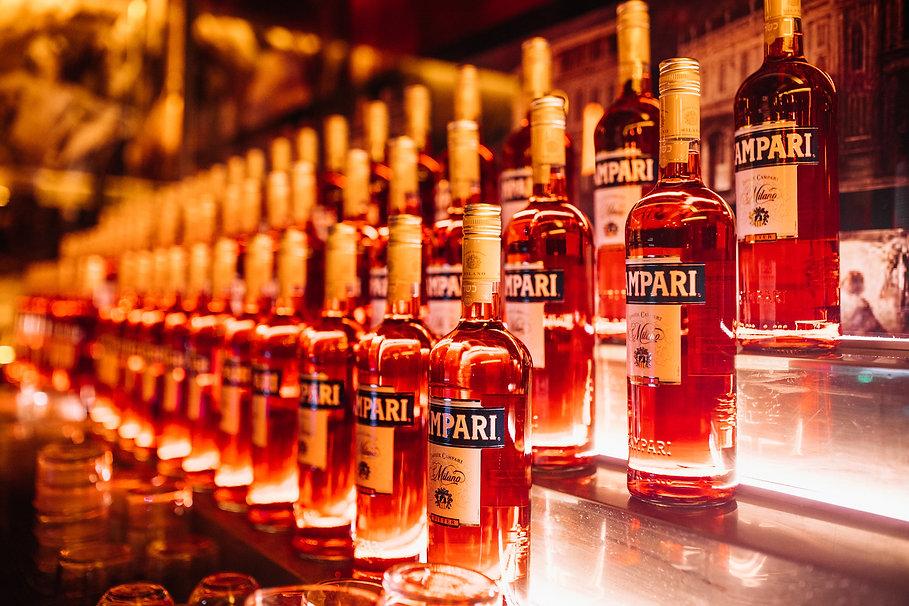campari bottles on a display bar