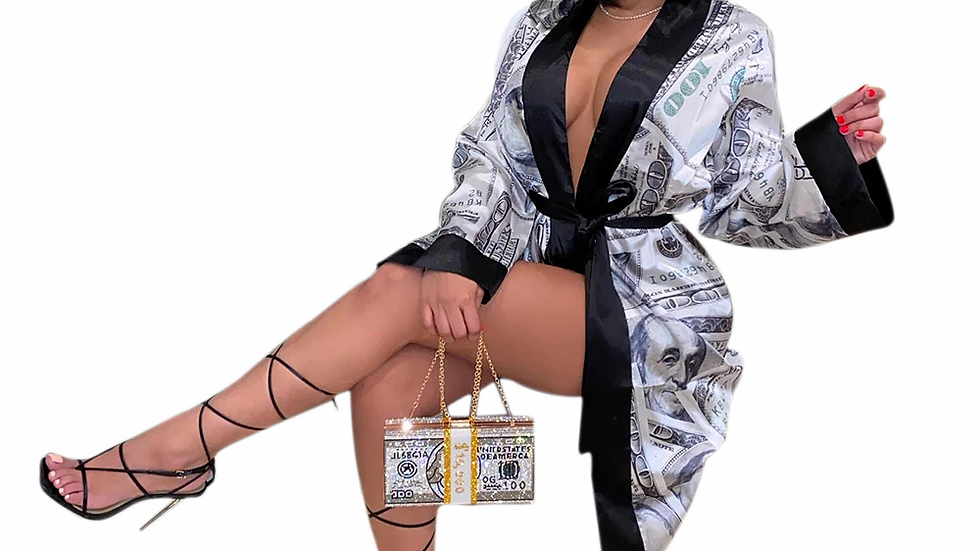 Dollar Print Sexy Home Bathrobe