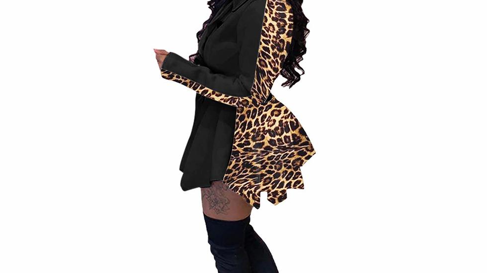 Long Sleeve Pleated Ruffle Jacket Dress