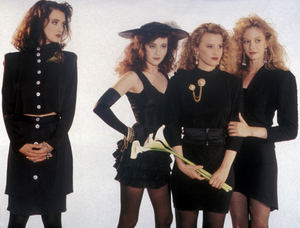 """An image of the women who made up the group known as """"Heathers"""" from the movie Heathers."""