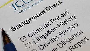 Document with checkboxes for type of background check. ICU Investigations. Private investigator near me.