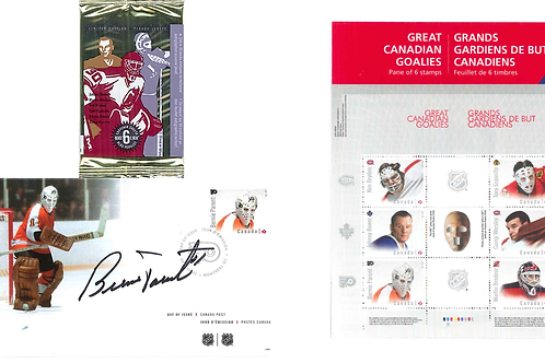 Bernie Parent Greatest Goalies Stamp Package with Stamp Cards & Signed Envelope
