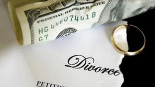 Cash, wedding ring, divorce paperwork. Private investigator near me.