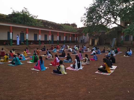 Yoga and meditation class by Siddapp Guruji at Sahabalve Jnana Yagna at Nirna Bidar.