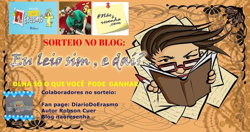 Sorteio no blog valendo kit do livro O Diario do Erasmo
