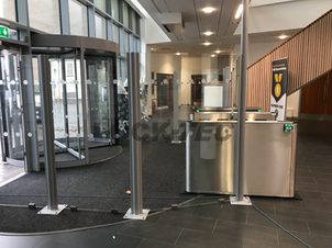 Bespoke Glass Screens fitted to enhance the security of the installed Pedestrian Barriers at a College