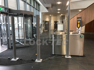 Glass Screens fitted to enhance the security of the installed Pedestrian Barriers at a College