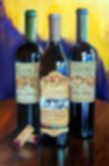 CAYMUS Trio-Wine Painting by-Sharareh-Ch