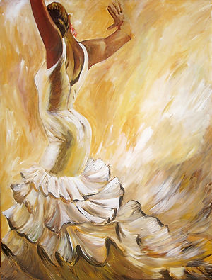 Flamenco Dancer in White Dress 30x40 Art