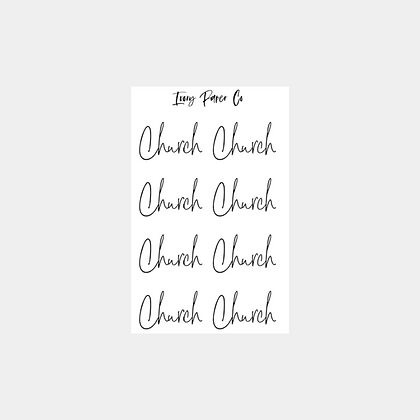 Church Script Foil Sticker Sheet