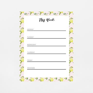 Pink Lemons Weekly Notepad | Customize Me
