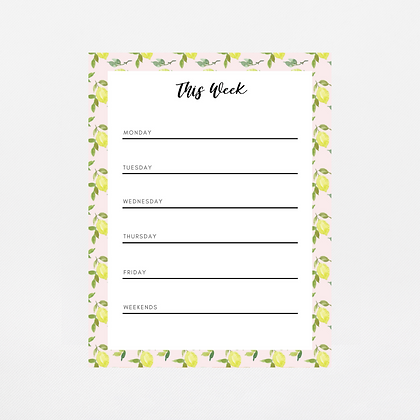 Pink Lemons Weekly Notepad | Customize Me