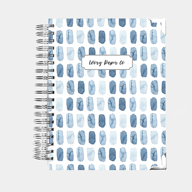 Blue Watercolor Brush Strokes | Vertical Weekly Planner (12 Months)
