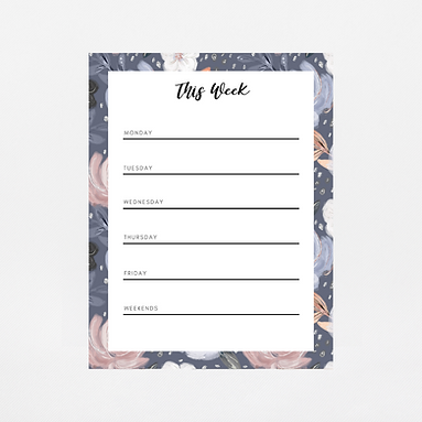 Navy Floral Weekly Notepad   Customize Me