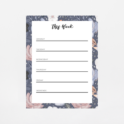 Navy Floral Weekly Notepad | Customize Me