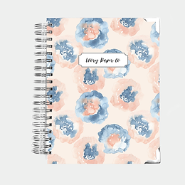 Abstract Floral Watercolor Undated Ivory Paper Co Planner
