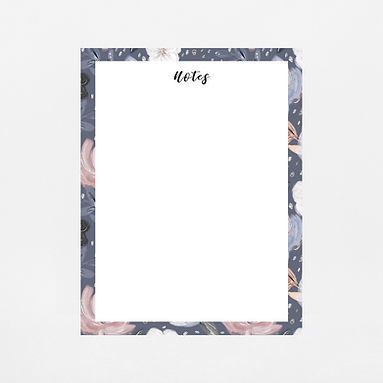 Navy Floral Notepad   Customize Me