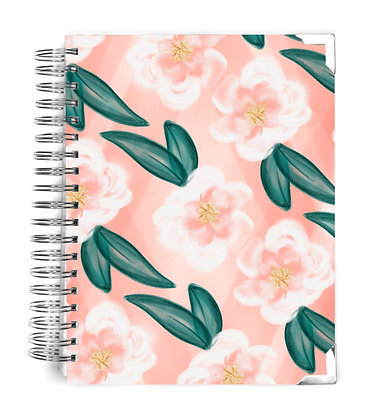 Coral Watercolor Floral Notebook