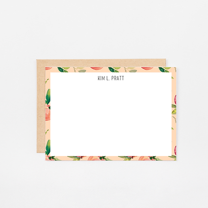 Coral Peach | Personalized Stationery Note Cards