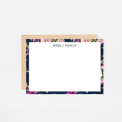 Navy Watercolor | Personalized Stationery Note Cards