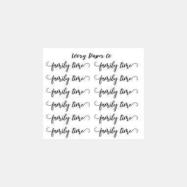 Family Time Script Sticker Sheet